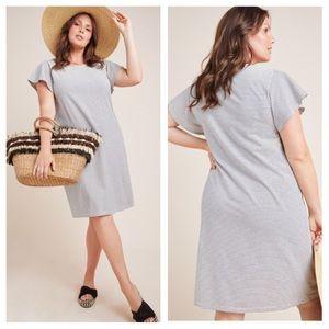 Anthro 2X Blue Striped Flutter Sleeve Tee Dress